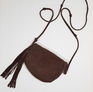 Urban Outfitters |brown suede tassel crossbody bag